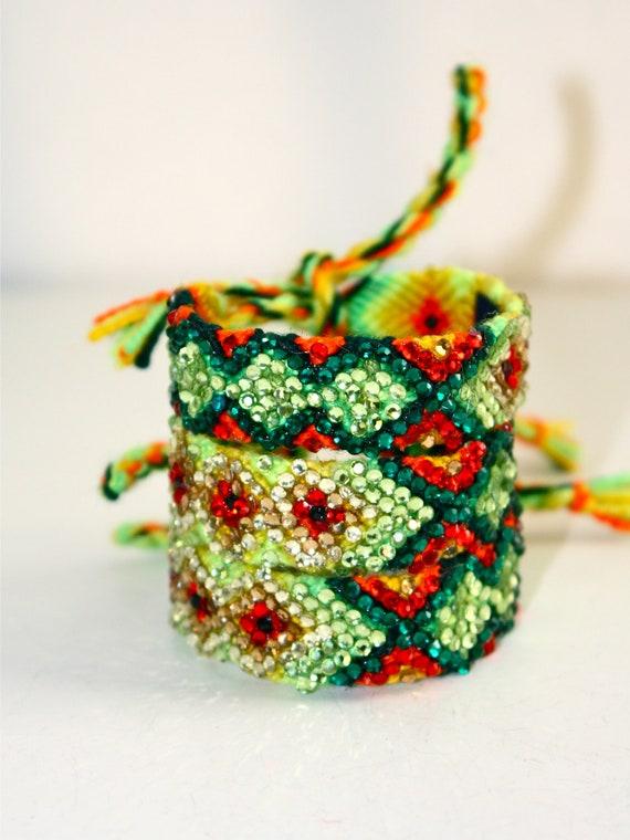 The Original Swarovski Crystal Friendship Bracelet-  Daisy Design ( Green, Yellow & Red)