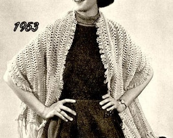 Hairpin Lace Wrap Stole Crochet Pattern Vintage 725004