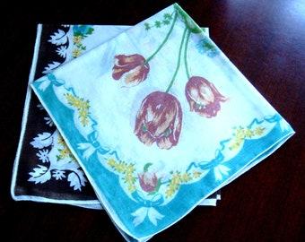 Vintage Spring Handkerchief Set, Blue and Brown Floral Handkerchief Set, Large Blue Rose and Brown Tulip Hankie