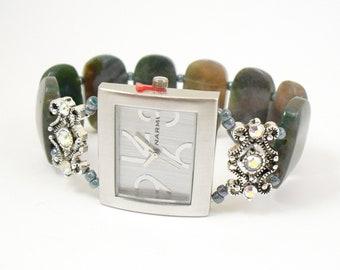 Beaded Bracelet Watch - Bold Fancy Jasper Stretchy Watch with Swarovski Crystal Accents