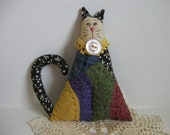 Quilted Cat Primitive Folk Art Hanging Ornament Christmas Tree Ornament Cupboard Hanger Rustic Farmhouse Decor Primitives Country