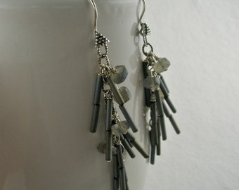 Blue and Gray Tube Beads Mix with Laboradorite in Dangle Earrings