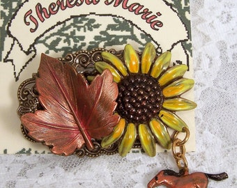 Hand Painted Sunflower Collage Pin w Horse, Embellished Woodland Jewelry, Maple Leaf Charm, Wearable Art, Outlander, Autumn Fashion Brooch