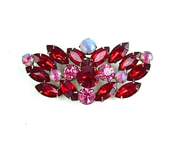 Vintage Rhinestone Brooch Ruby Garnet Red Jewlery Angel Wing Glass Hollywood Glamour Costume Jewelry