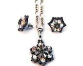 on X-mas SALE, 30%OFF - Little Star - black & white - Swarovski Crystal Earrings Pendant Necklace Set