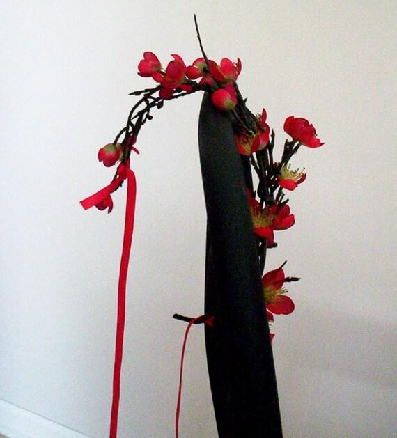 Red Destination Wedding Flower crown Festive Holiday Bridal hair wreath accessories - Sakura Blossoms -  headpiece hair garland Eastern
