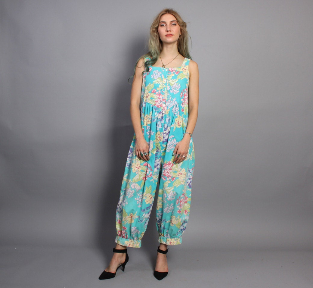 80s LAURA ASHLEY JUMPSUIT / Loose Fit Floral Overalls Romper