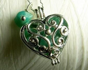 Worry Locket - green jade heart locket / heart locket / silver locket / locket necklace / jade necklace / floating locket / jade locket