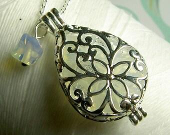Worry Locket - opal teardrop locket / opal locket / silver locket / memory locket / opal necklace / living locket / floating locket
