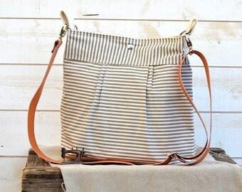 Waterproof BEST SELLER Diaper bag/Messenger bag STOCKHOLM Gray and ecru nautical stripe - 10 Pockets -Ikabags Baby talk magazine featured