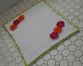 Handmade Knitted Cotton Bath Mat with Handmade Crocheted Cotton Flowers