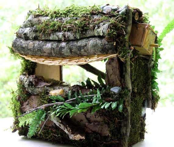 Woodland Fairy House Garden Cottage One of a Kind Moss Custom Made