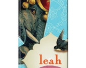 Personalized iPhone 5 or 4 Case - Elephant on Aqua Wallpaper, iPhone 5 case,  iPhone 5 cover, monogrammed iPhone 5 cover