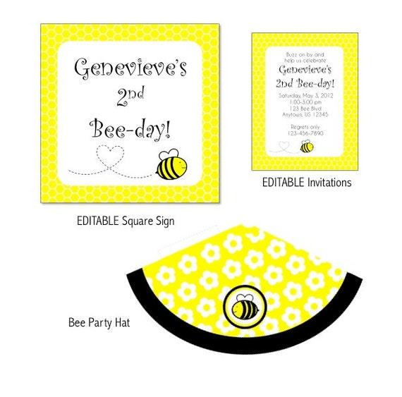 Bee Printable Party- EDITABLE