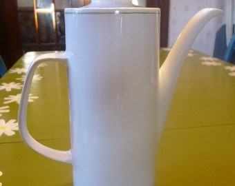 "J & G Meakin ""Studio"" China Coffee Carafe, Pitcher, Mid Century Modern, England, White, Olive Green"