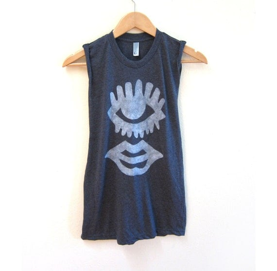 SAMPLE SALE One Eyed Monster Hand Stenciled Slouchy Crew Neck Muscle Tee Tank Top in Heather Black - M
