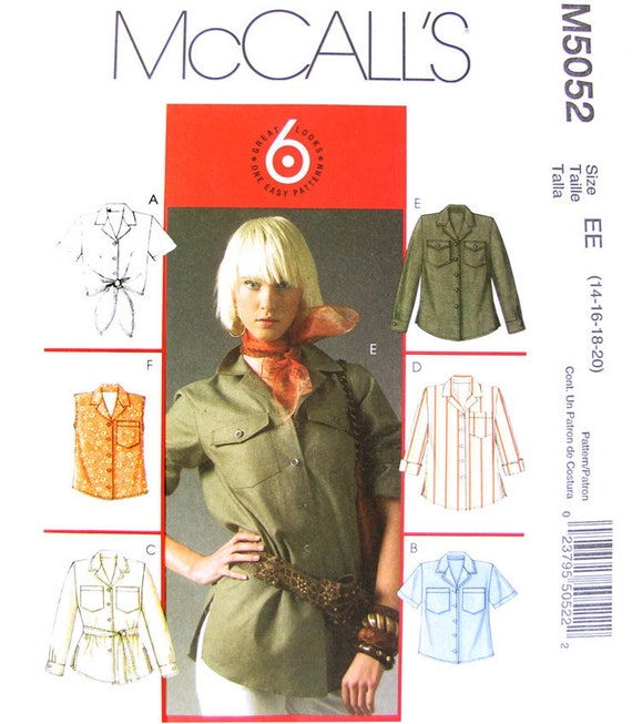 Misses Shirt Sewing Pattern McCall's 5052 UNCUT Bust 36 to 42 Plus Size Included