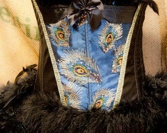 PAVLIN - Peacock Costume blue black Burlesque corset, steampunk gothic Halloween dress