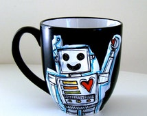 Robot Mug Black Ceramic Coffee Cup with handle Retro Geekery Red Hearts Hand Painted by sewZinski - READY TO SHIP