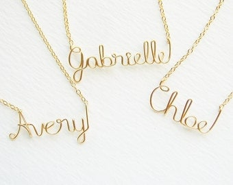 14k Solid Gold Childrens Name Necklace. Custom Gold Girls Kids Name Necklace.