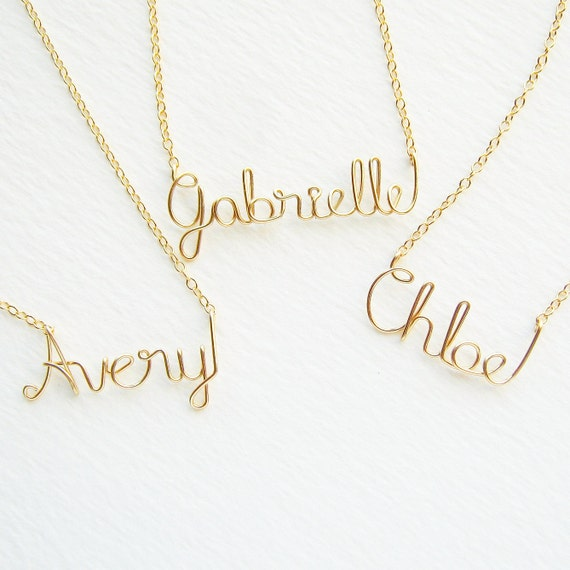 14k Solid Gold Childrens Name Necklace Custom Gold Name