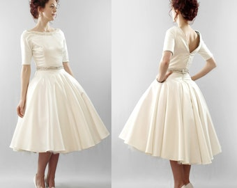 The Christy - silk duchess satin short wedding dress - Made to order