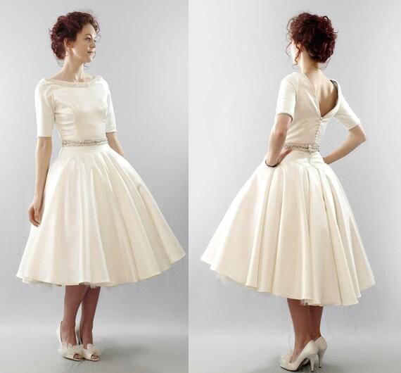 The Christy - silk duchess satin short wedding dress - Made to order