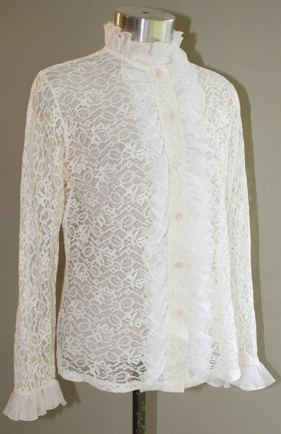 Truth or Dare - Lace Ruffled Blouse - Circa 1970s - by Ship'n Shore