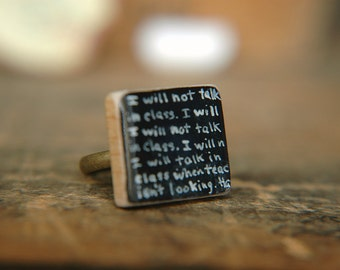 Chalkboard Handwriting Ring Back to School Design Hand Painted Adjustable Scrabble Tile  -  The Bad Pupil