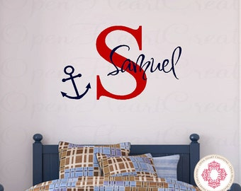 Name and Boat Anchor Nautical Vinyl Wall Decal - Monogram Baby Boy or Girl Wall Decal with Boat Anchor 22H x 36W INA0046
