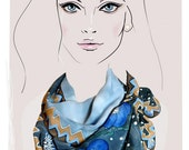 Blue, Grey Floral silk scarf, hand painted:  Baby Blue Eyes