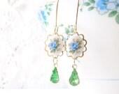 Blue Rose and Vintage Jewel Earrings - Vintage Cameo - Peridot Crystal - Rhinestone Gem - Vintage Limoges - Dainty Earrings
