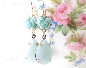 Something Blue - Vintage Jewel Flower Earrings - Blue Rhinestone - Ruffled Rose - Bride