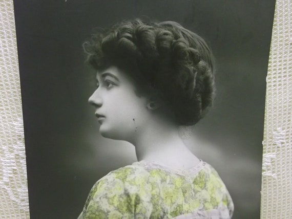 Profile of Pretty Girl with Braided Hair - Real Photo Tinted Postcard - 1911