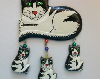 Vintage 80s Cat Kitten Pet Pin Brooch Black White Wood Cat Lady Silly Novelty DEADSTOCK