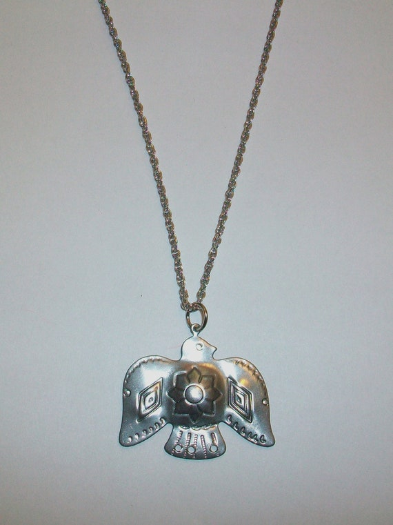 Vintage Thunderbird Navajo Indian Bird Necklace Silver-Tone Nature Boho