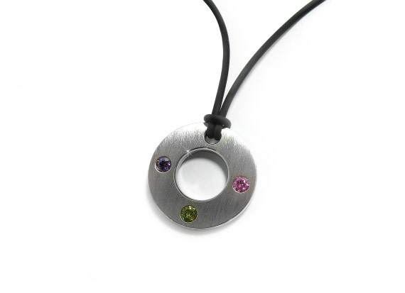 Modern Unique Round Flat Pendant with Three Gemstone in Stainless Steel