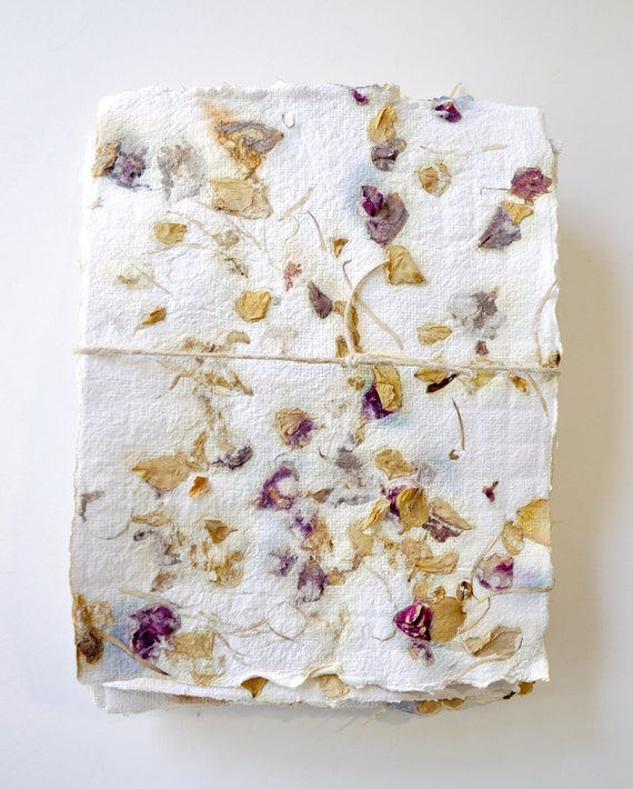 Handmade Recycled Paper with Flower Petals - 10 Sheets