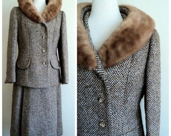Vintage 1970's Tweed Wool Fur Jacket & Skirt // Ladies Suit // 2pc Set //  Blond Mink Fur // Wool Skirt