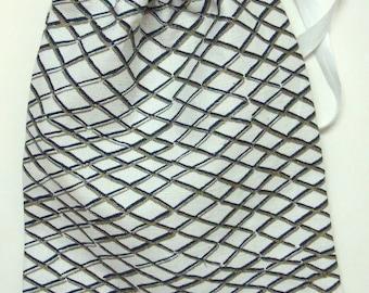 SALE * Blue and Gold Net Geometric Print Linen Drawstring Washbag