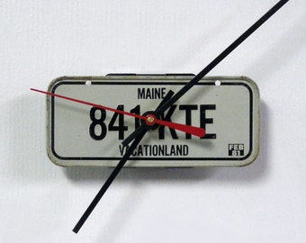 Maine Bicycle License Tag Wall Clock - Mini 1981 ME License Plate State Decor - Office Gift - Vacationland