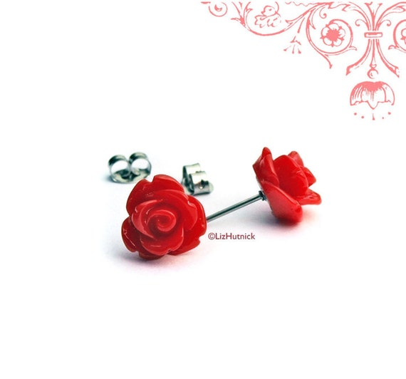 Red Rose Stud Earrings, Gothic Red Rosette Posts, Bridesmaid Gifts, Titanium or Stainless Steel Posts