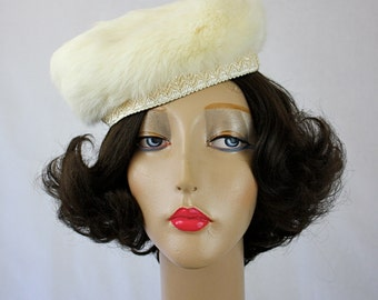 Vintage 60s  White Fur Hat by Charice Originals