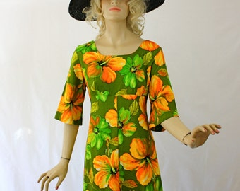 Vintage 70s Hawaiian Maxi Dress Ui-Maikai Green Orange Floral Print Long Cotton Dress