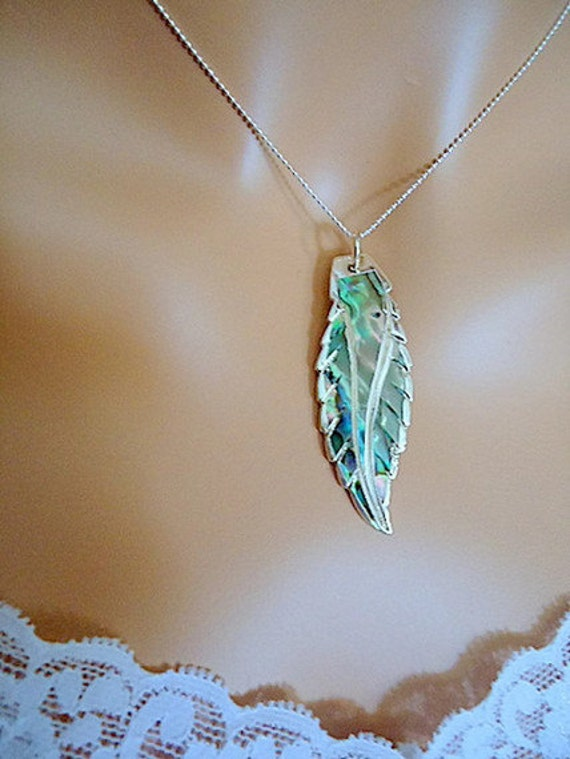 Abalone shell feather pendant necklace sterling silver beachy summer tropical island jewelry