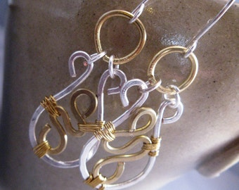 Free Gift Wrap - Sterling Silver and Brass Abstract Earrings