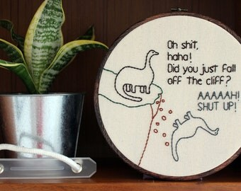 "Dinosaur Eats It Hand Embroidery - 8"" Hoop"