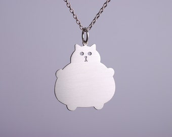 Silver Cat Necklace, Kawaii Jewelry, Fat Kitty Accessory