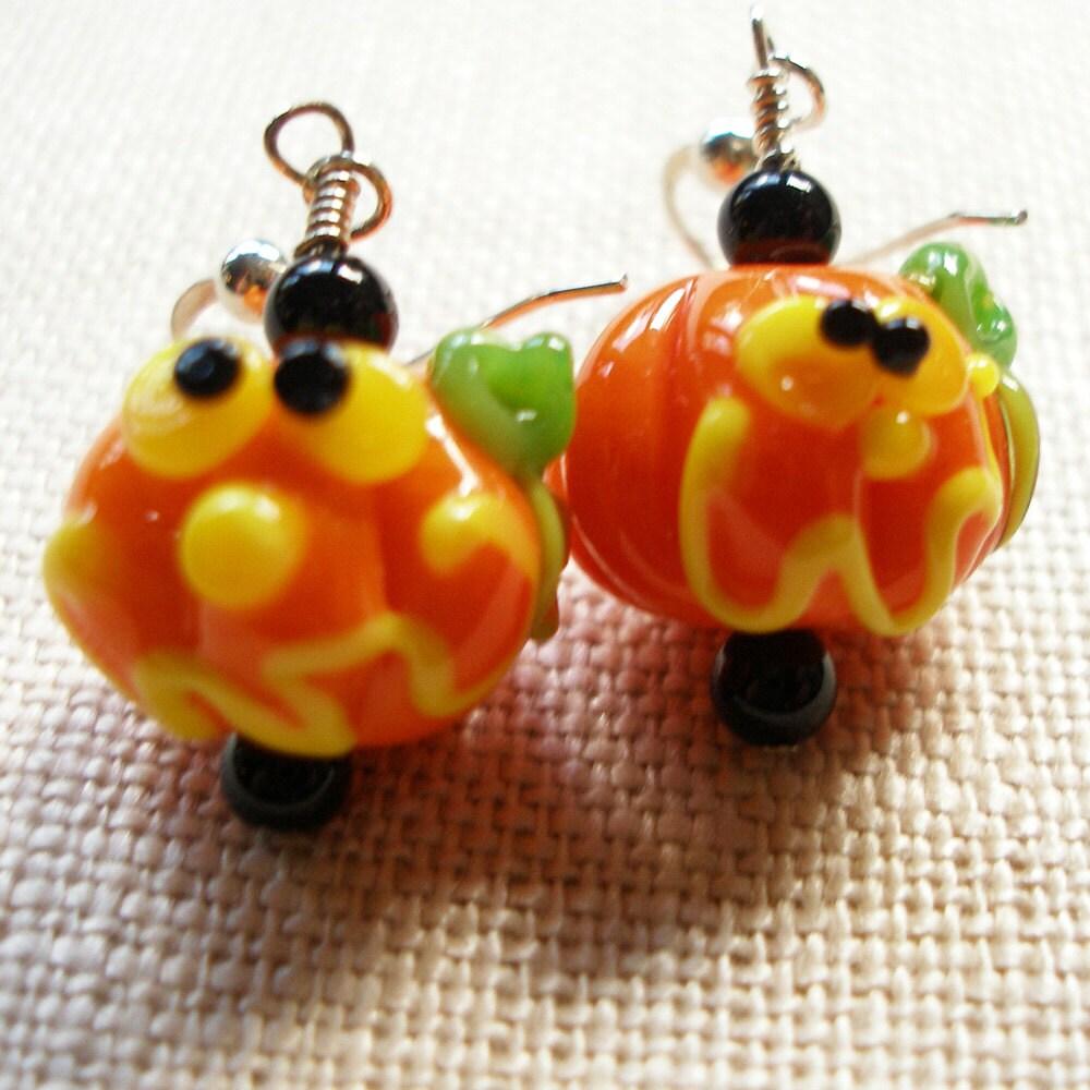 pumpkin earrings o lantern coffin