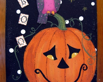 BOO Owl Acrylic Mixed Media Painting on Canvas 5x7